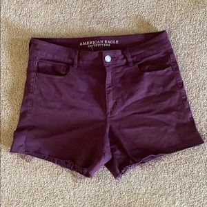 AE Maroon High Rise Shorties